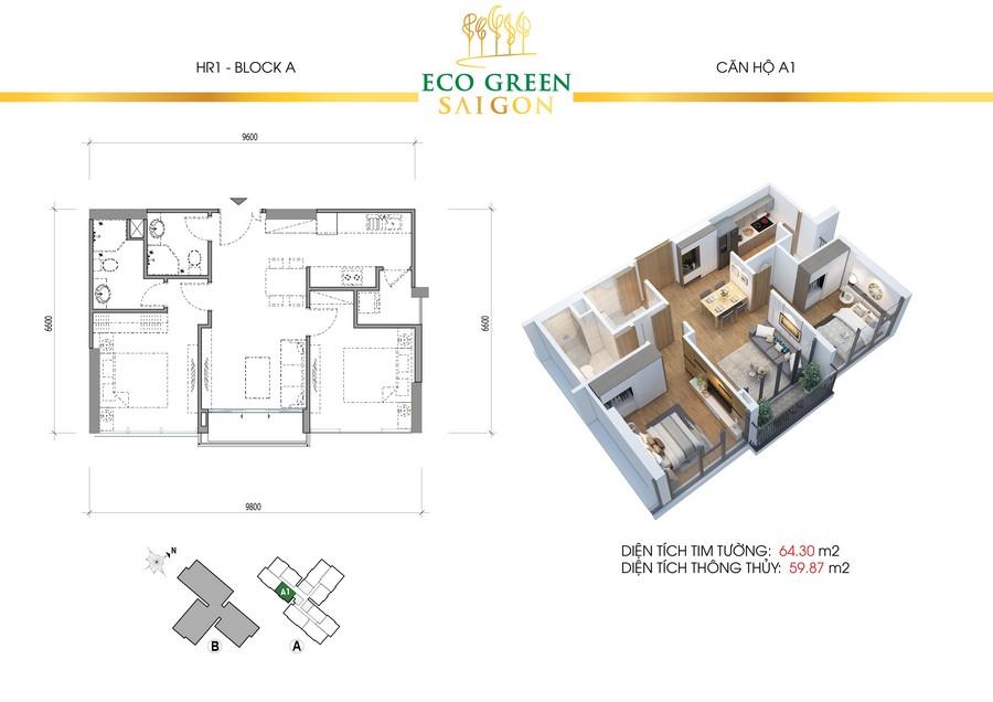 Loại diện tích căn hộ 2PN + 2WC