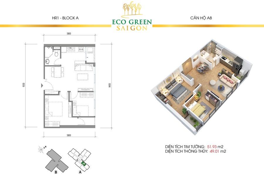 Loại diện tích căn hộ 2PN + 1WC